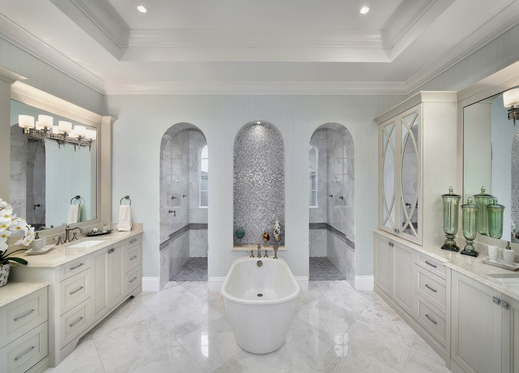 New custom home plan by palm beach fl architect weber for Florida bathroom designs