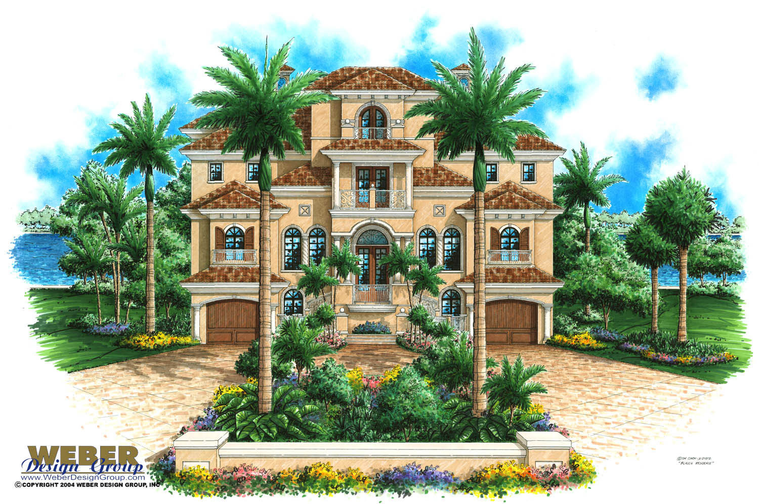 mediterranean house plan print elevation view larger image
