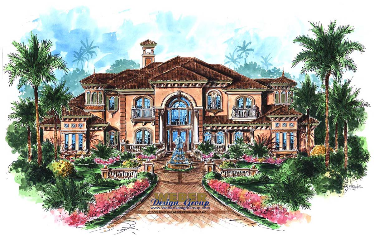 Mediterranean home plan cantrel home plan weber design for Weber house plans