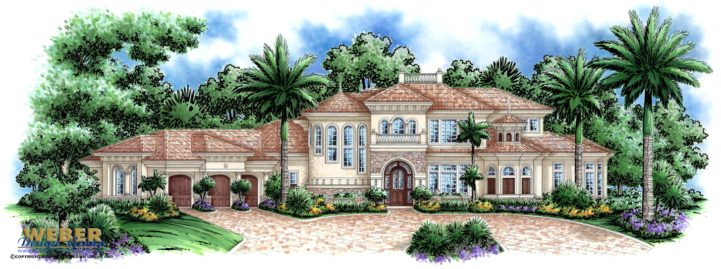 Tierra de palma home plan mediterranean home plan for Luxury waterfront house plans