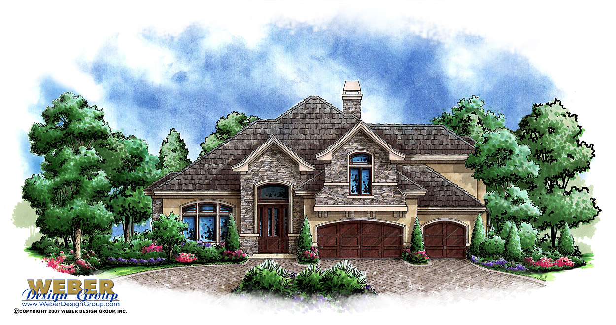 Stone manor ii home plan basement house plan weber for Weber house plans