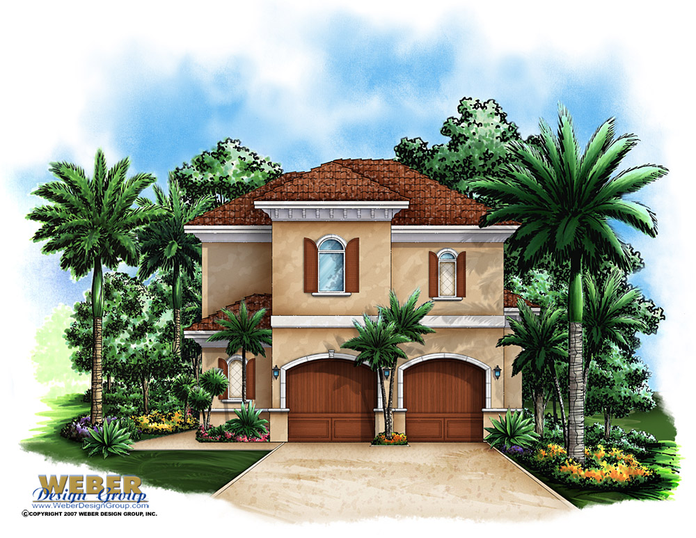 Garage house plan two story garage floor plan weber for Two story mediterranean house plans