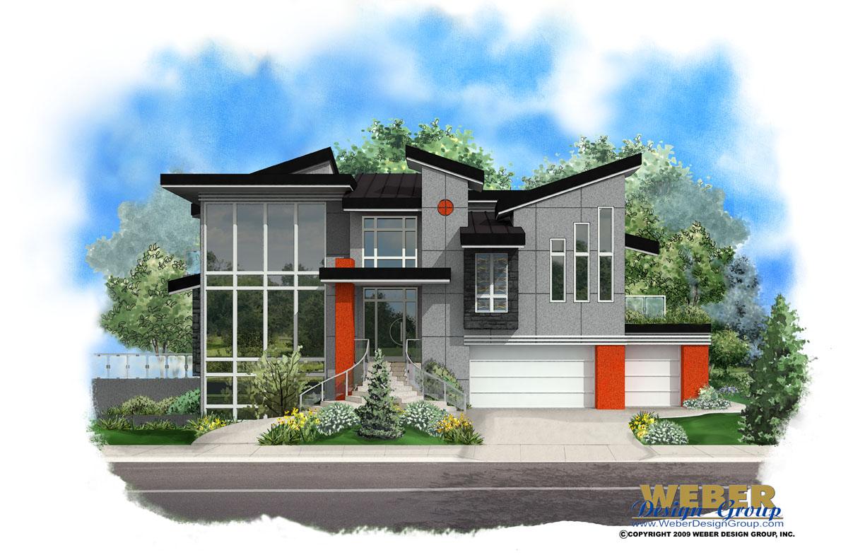 Contemporary house plan modern house plan majorca for Weber design group