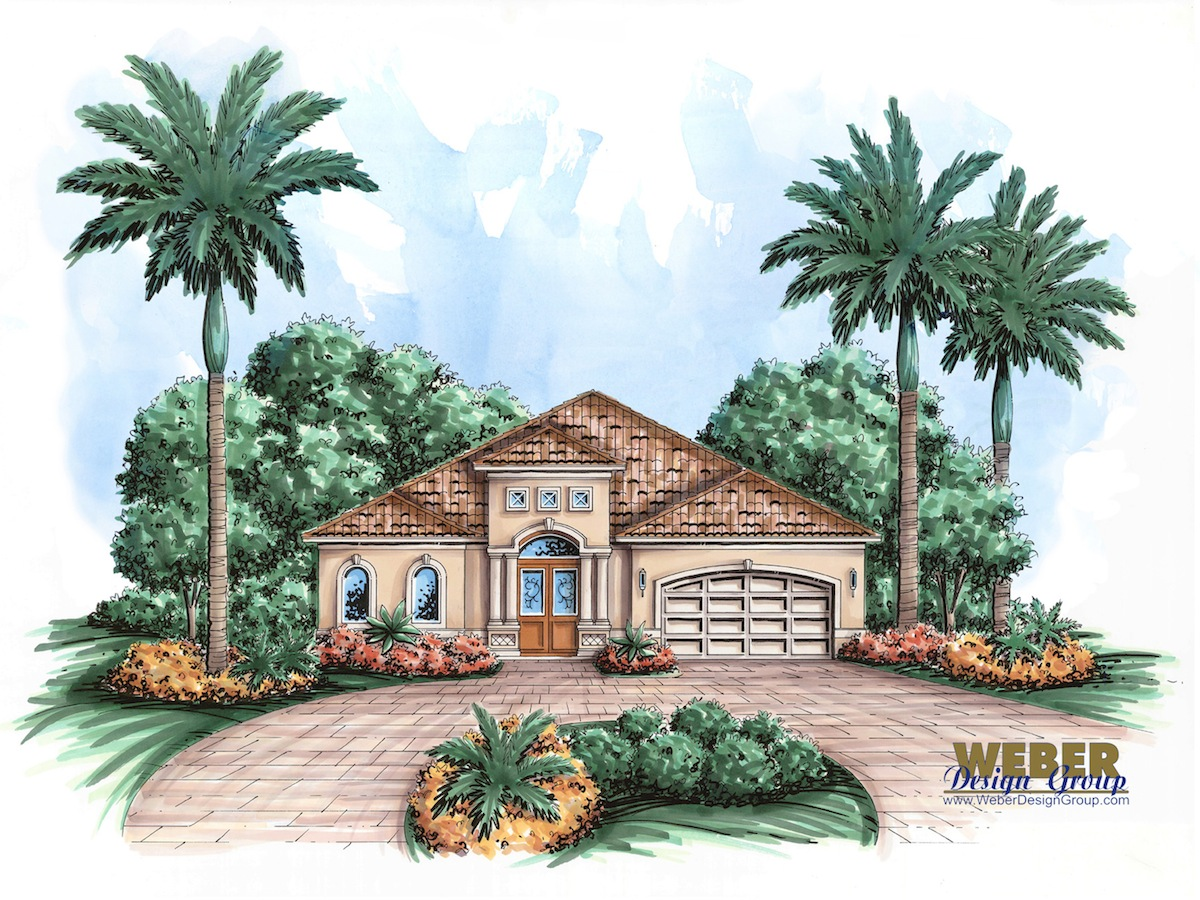Mediterranean house plan san juan house plan weber for Mediterranean elevation