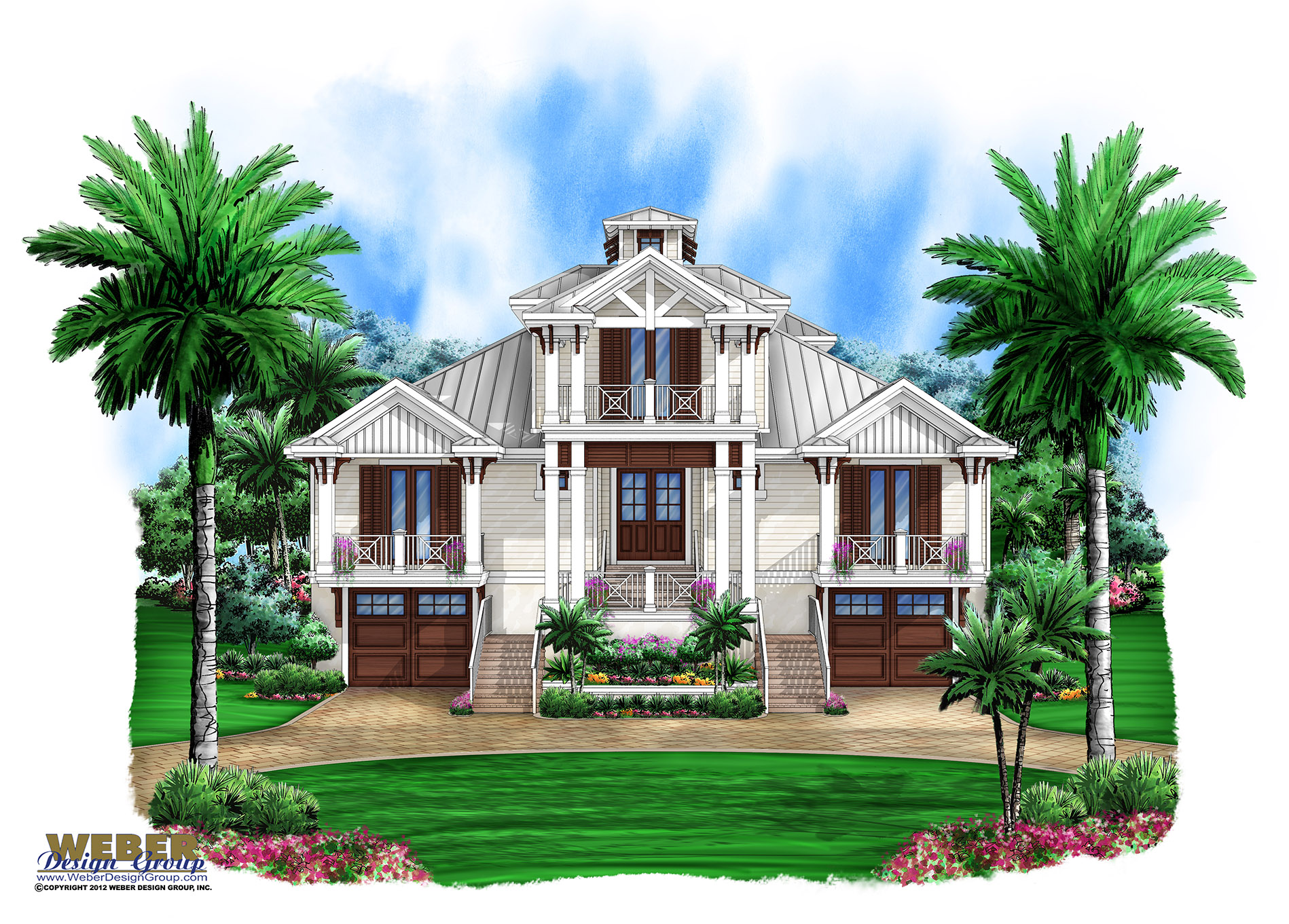 Marsh harbour olde florida house plan weber design group for Beach house elevation designs