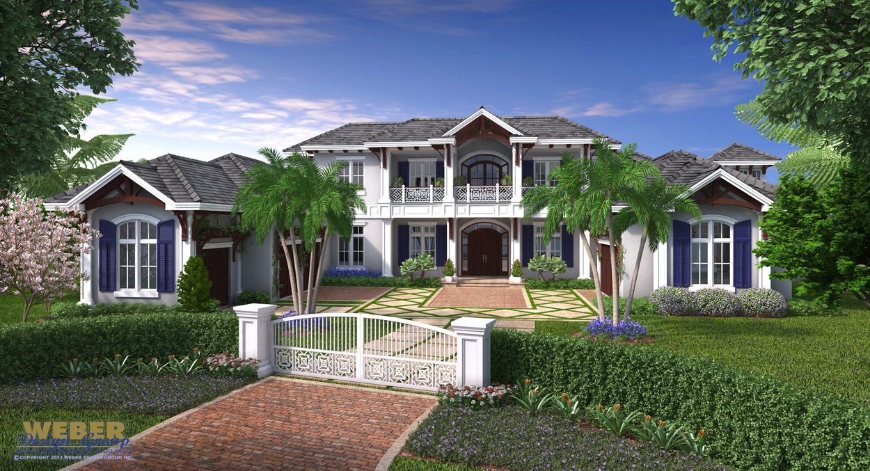 West indies house plan coral crest house plan weber for Estate home plans designs