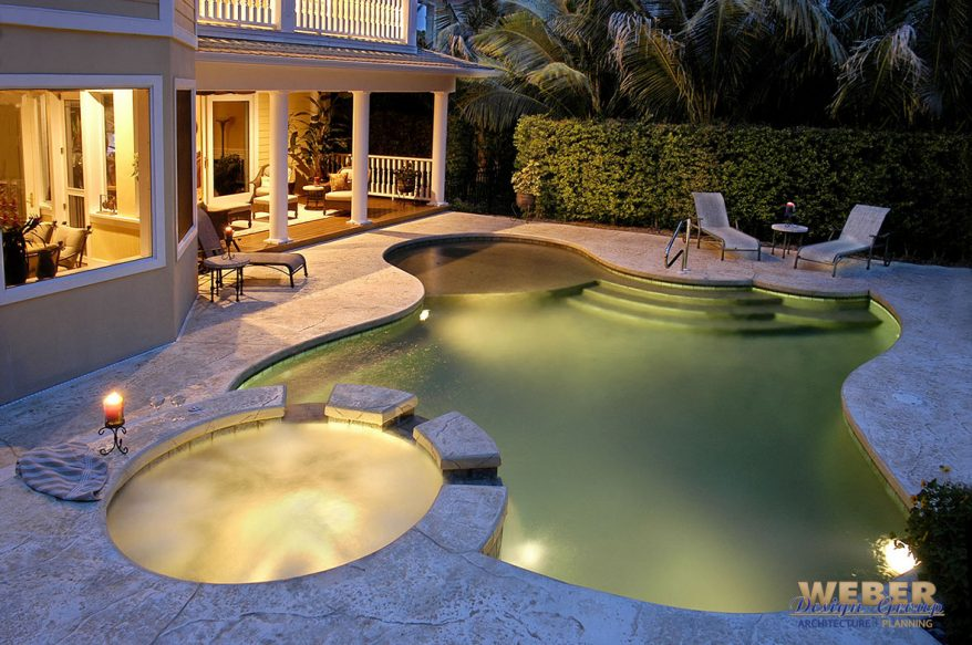 pool and outdoor living area
