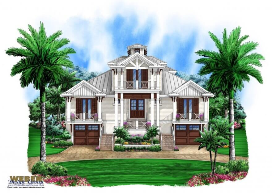 olde florida house plan perfect for waterfront lot - weber design