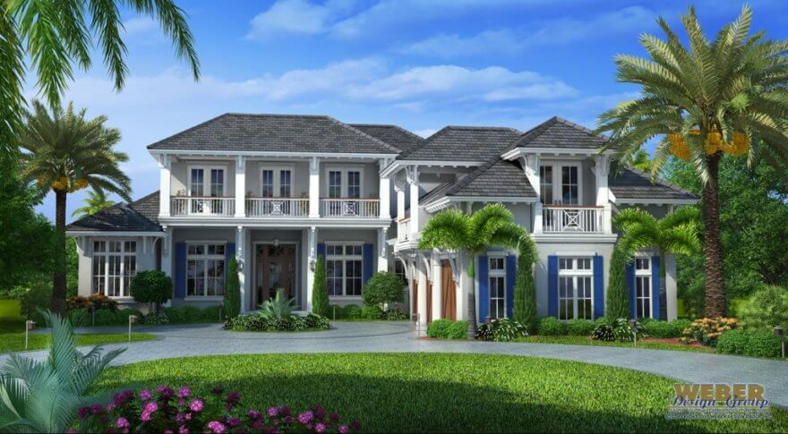 Naples fl architecture west indies style house plan for Custom home plans florida