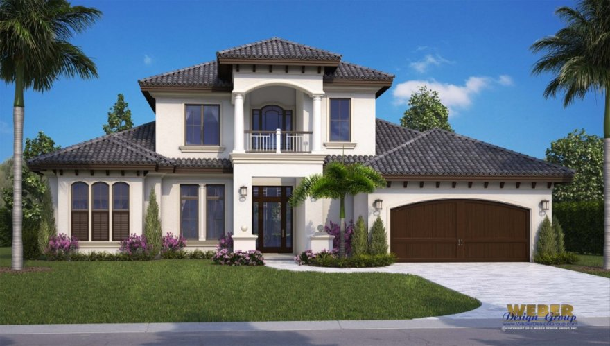 Mediterranean style home plan by naples architects via for Florida mediterranean style homes