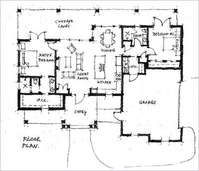 Hand sketched 2D black & white floor plan
