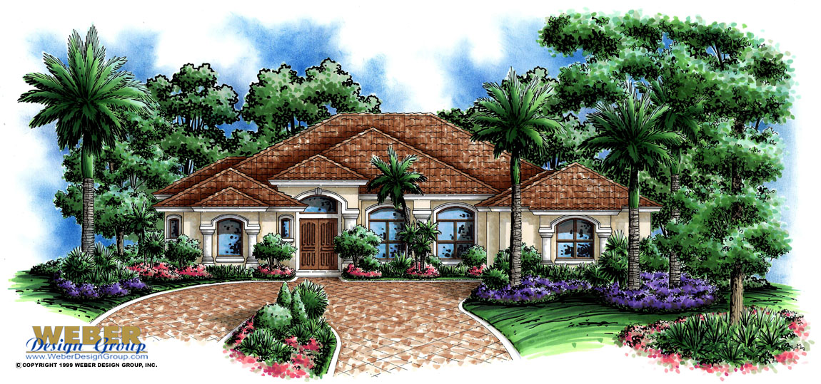 Mediterranean house plan one story coastal waterfront - Mediterranean house floor plan and design ...