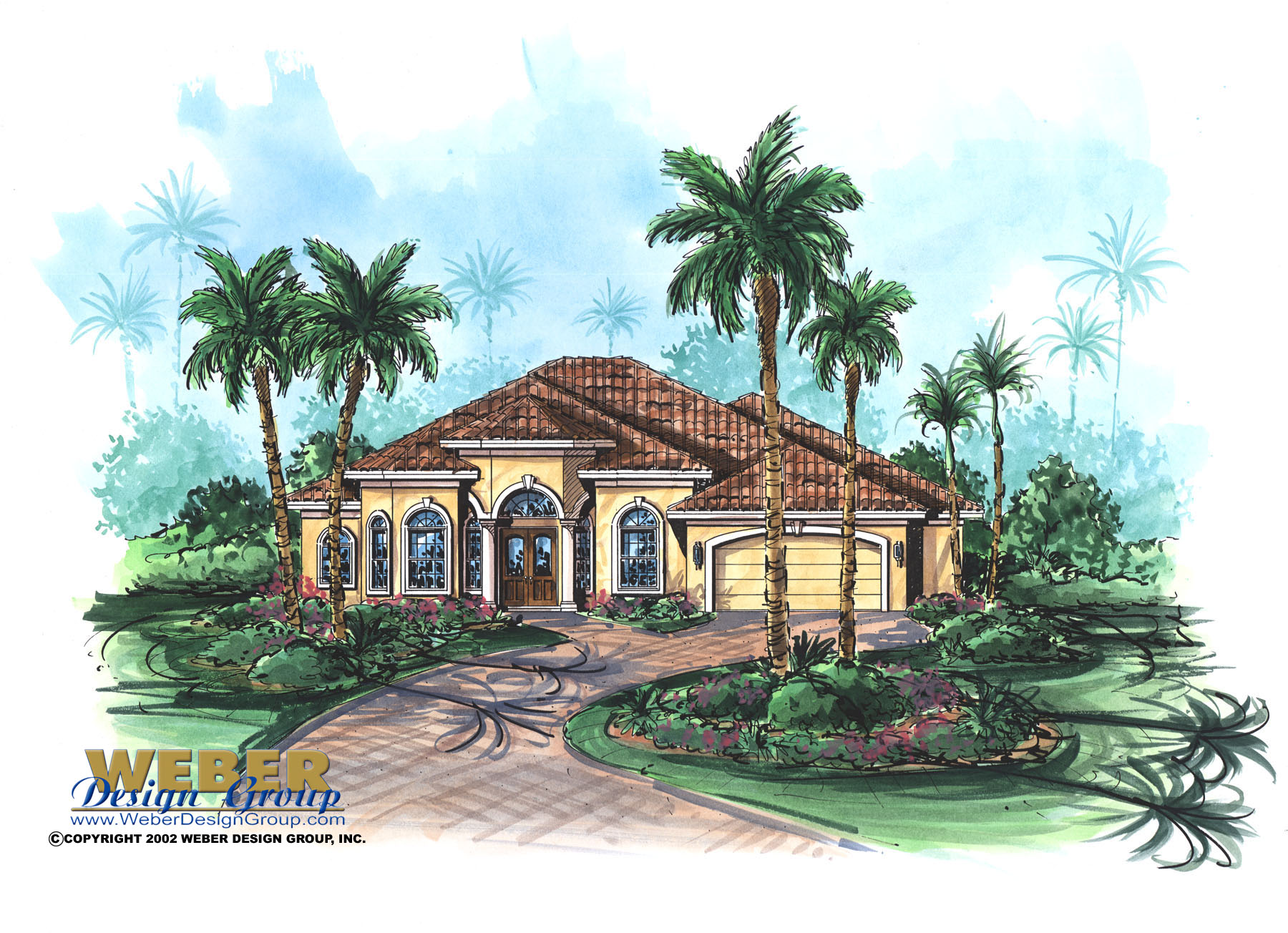 Mediterranean house plan 1 story home floor plan with pool for Weber design