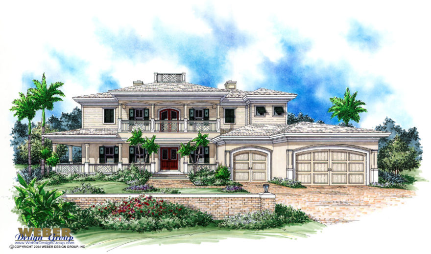 Emerald bay house plan weber design group naples fl for Florida cracker house plans wrap around porch