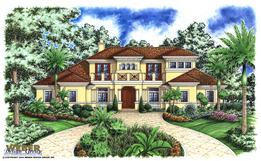 Mediterranean Island House Plan Stock Floor Plan