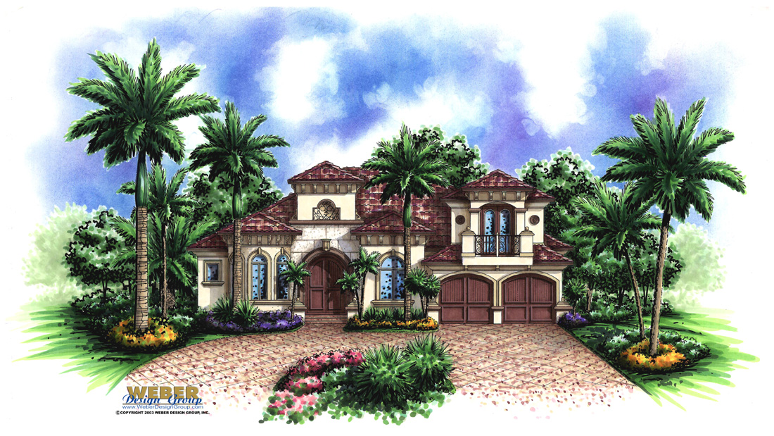 Mediterranean house plan 2 story tuscan waterfront style for Two story mediterranean house plans