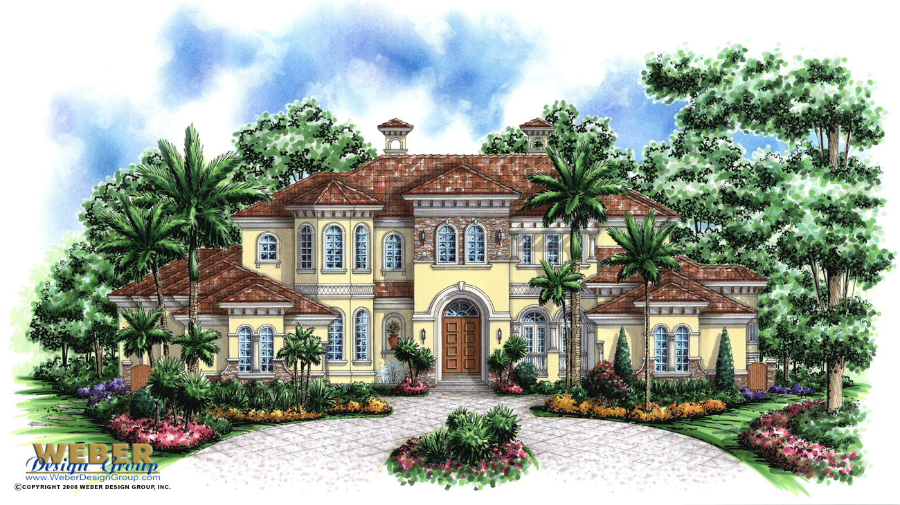 Mediterranean house plan 2 story waterfront mansion floor for Italian farmhouse plans