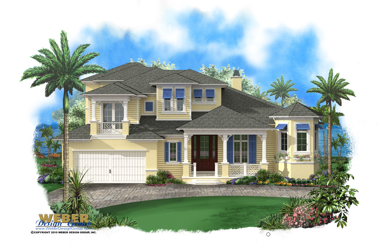 2 story beach house plan with pool 2 car garage for Caribbean house designs