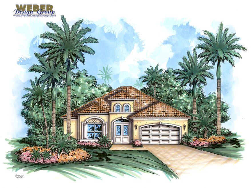 Mediterranean house plan narrow lot golf course home for House plans for golf course lots
