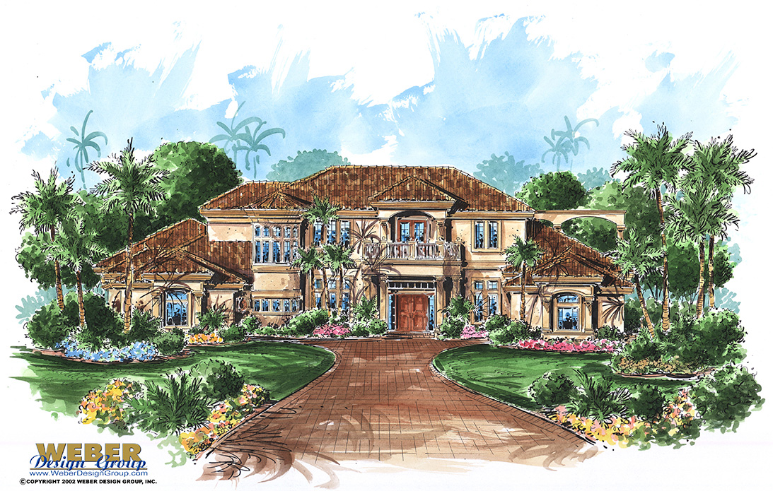 Mediterranean house plan with tuscan style outdoor living for Weber design