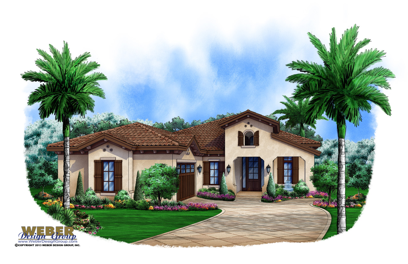 Spanish House Plan: 1 Story Coastal Spanish Style Home Floor Plan
