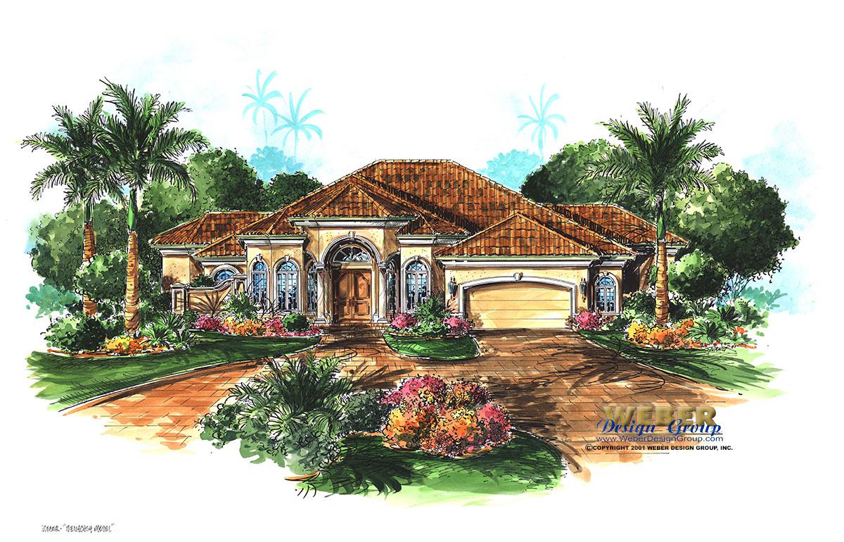 Cordova house plan weber design group naples fl for Single story mediterranean house plans