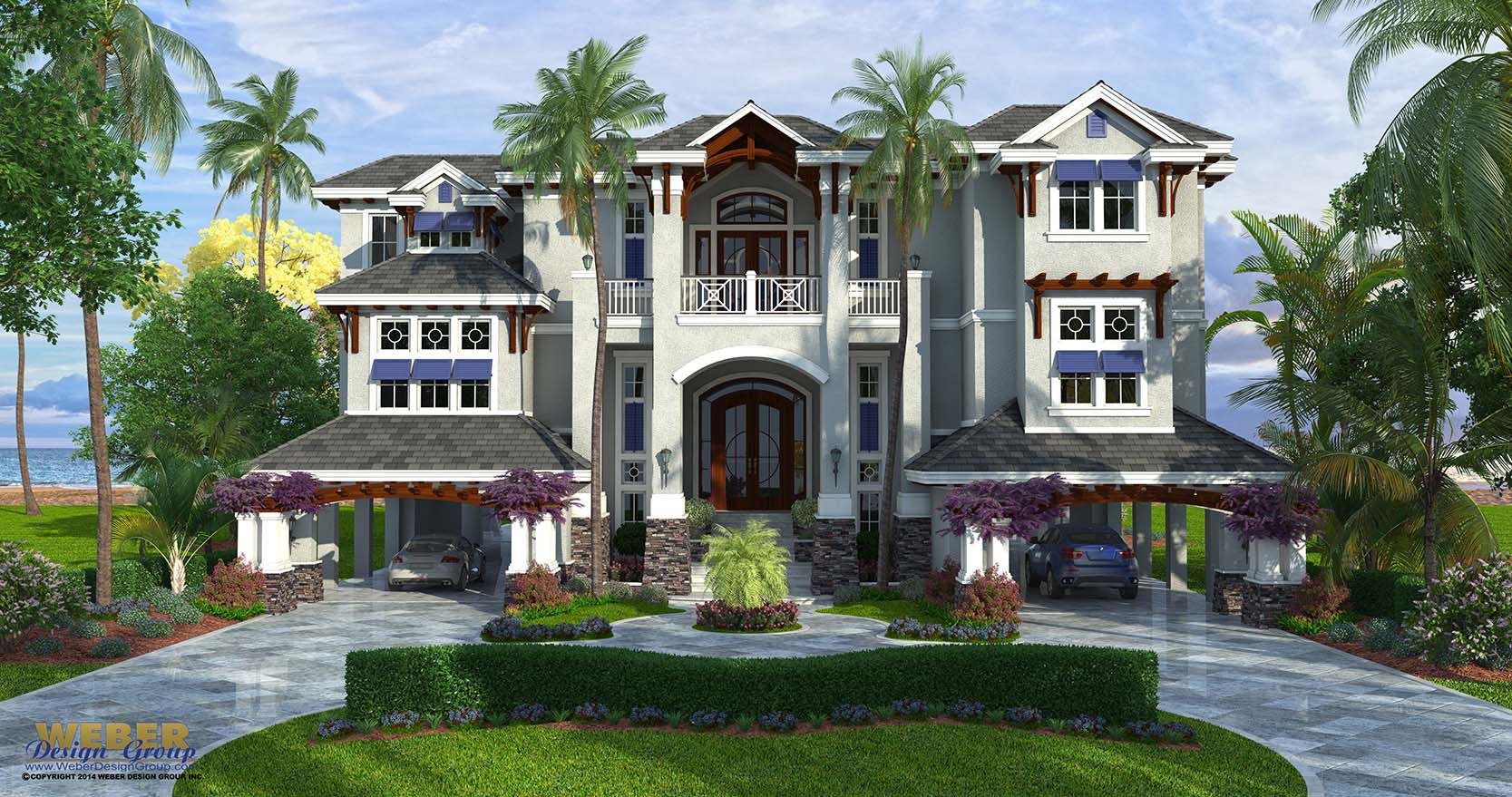 Coastal Style House Plan, 3 Story Floor Plan, Outdoor Living & Pool