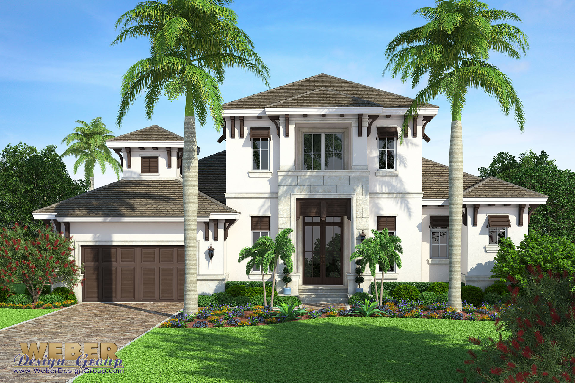 Beach house plan transitional west indies beach home for Two story beach house plans