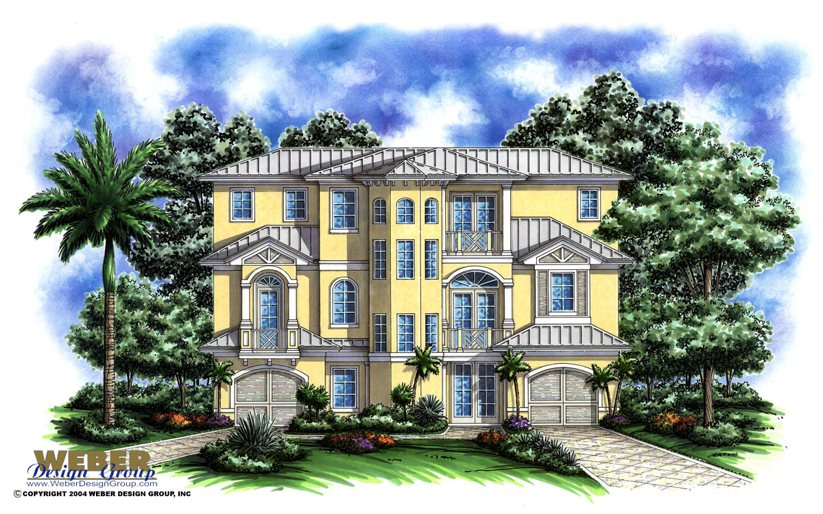 Port antigua home plan weber design group naples fl for Two story florida house plans