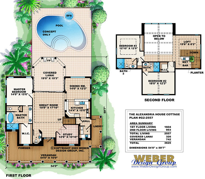 House Plans with Pools: Modern Home Floor Plans with Swimming Pool