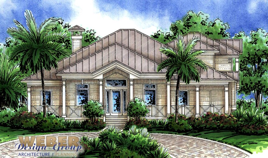 Old florida style house plan open layout covered lanai pool for Old florida style house plans