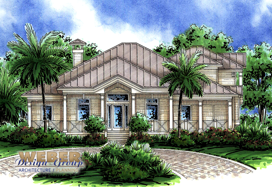 old florida style house plan, open layout, covered lanai, pool