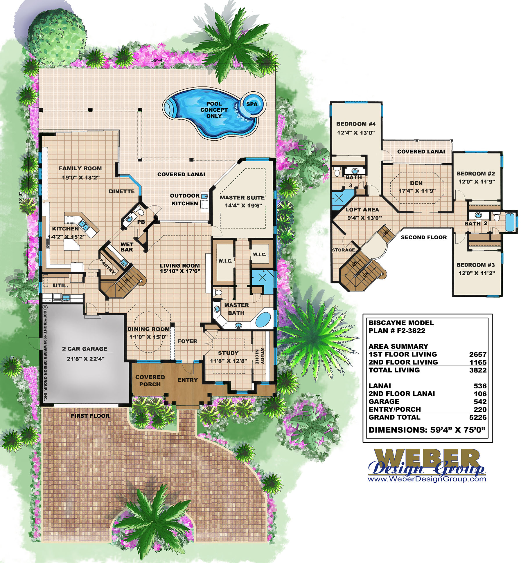2 Story Old Florida House Floor Plan Open Layout Lanai Pool