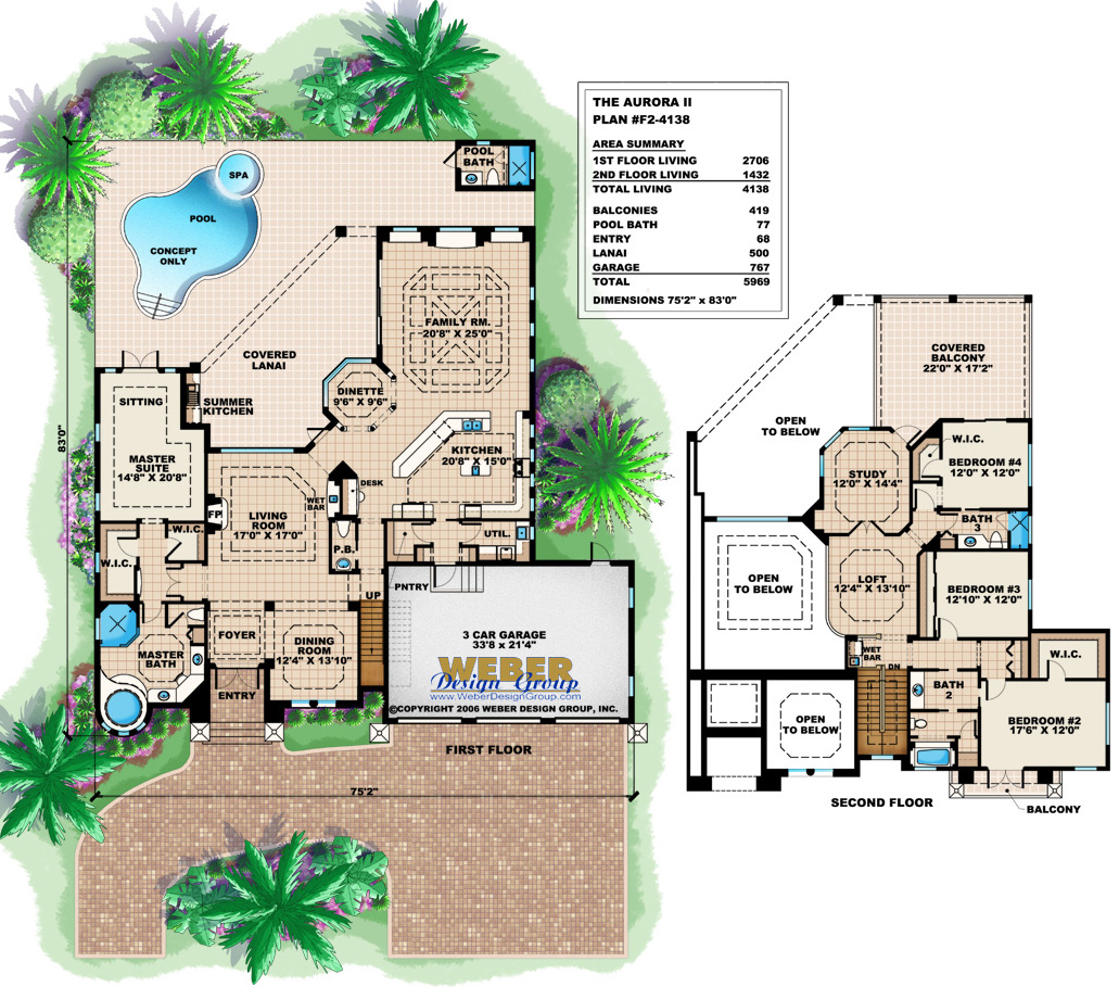 House Plans with Pools: Luxury Home Floor Plans with Swimming Pools