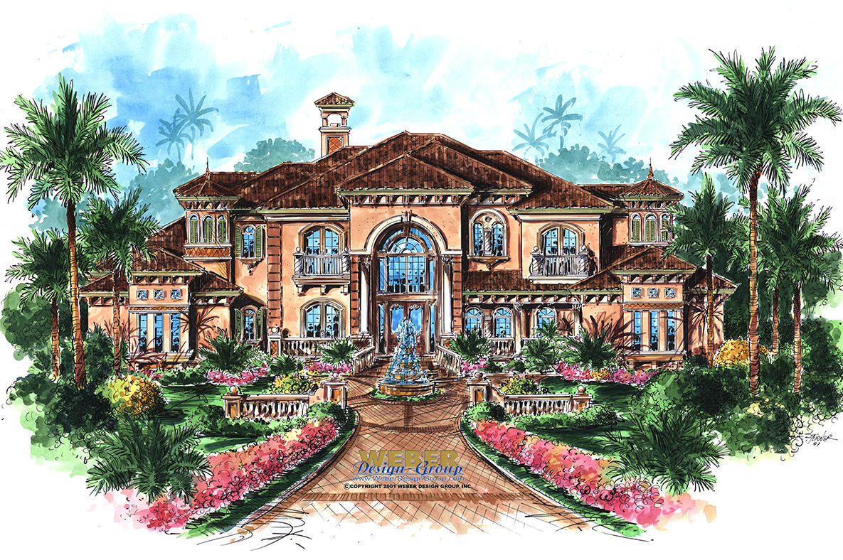 Cantrell home plan mediterranean style house plan for Luxury mediterranean home plans