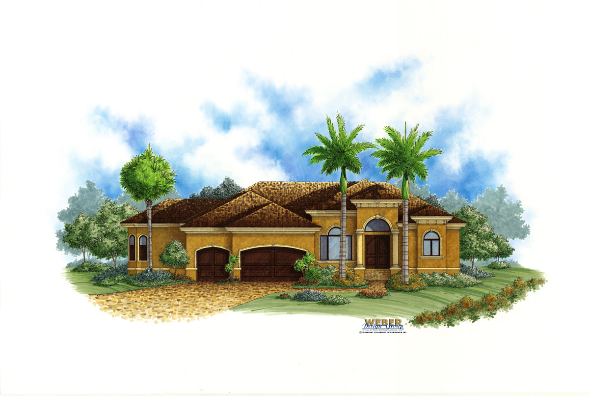 Mediterranean House Plan: One Story Tuscan Style Home Floor Plan