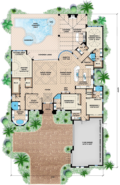 Caribbean House Plans Tropical Island Style Beach Home Floor Plans