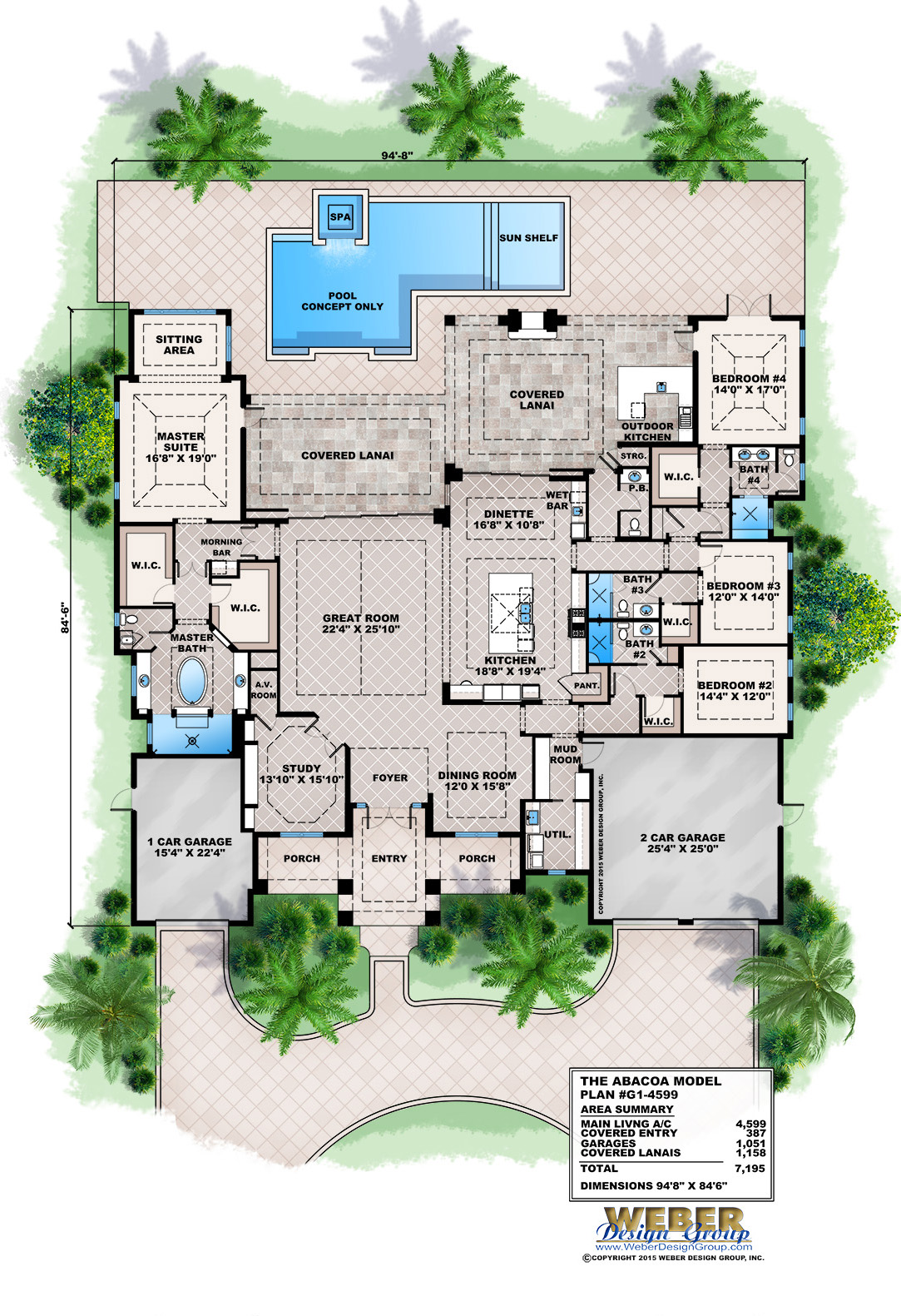 One Story House Plan West Indies Style Architecture With