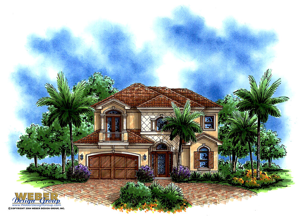 Ravello 2 house plan mediterranean contemporary narrow for Mediterranean elevation