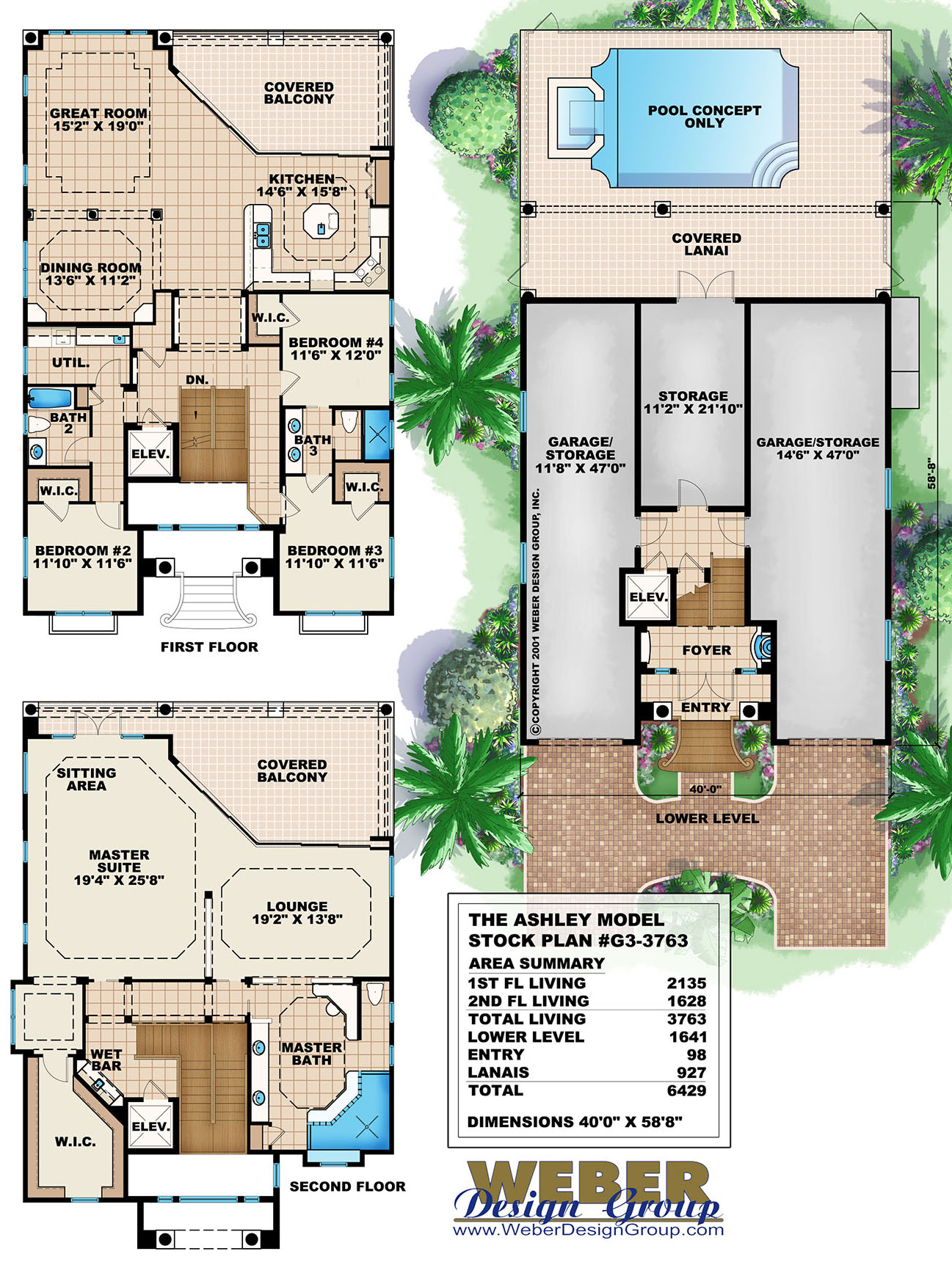 Mediterranean house plan coastal narrow lot beach home for 3 story beach house floor plans