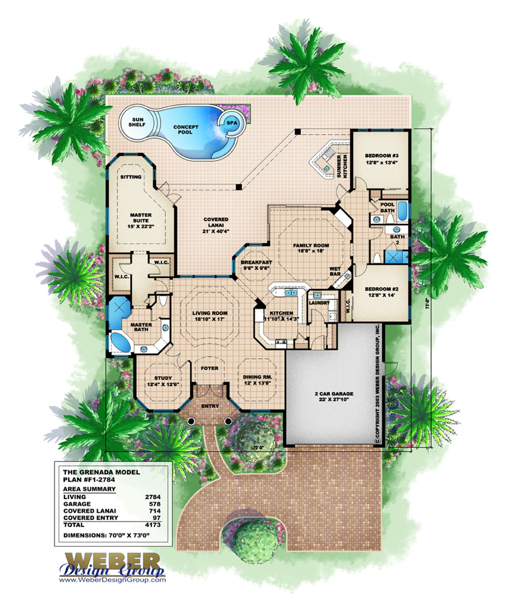 Mediterranean house plan small 1 story coastal home floor for Weber design