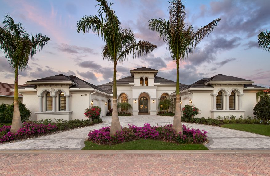 Mediterranean Lakefront Home Design 1 Story Contemporary