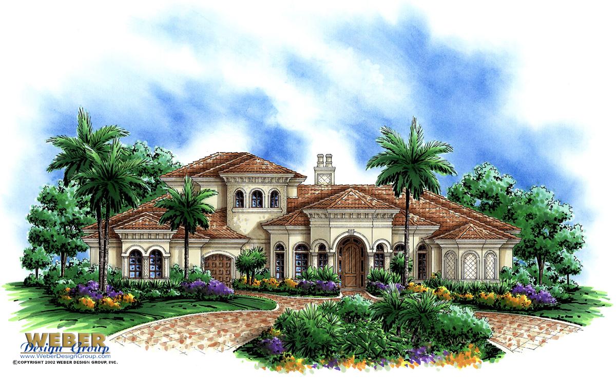Mediterranean House Plan: 2 Story Waterfront Home Floor Plan