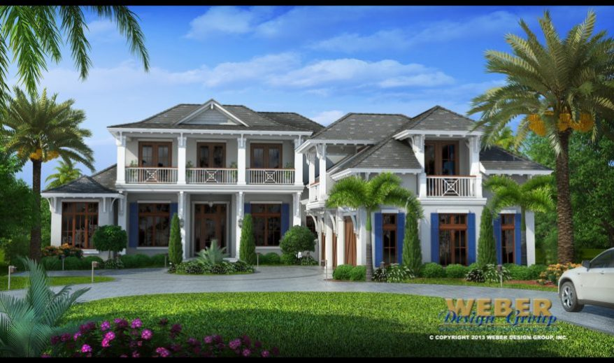 Beach house plan contemporary caribbean waterfront home for West indies home plans