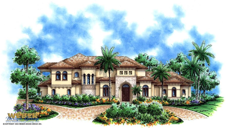 Mediterranean house plan 2 story waterfront golf course for Golf course home plans
