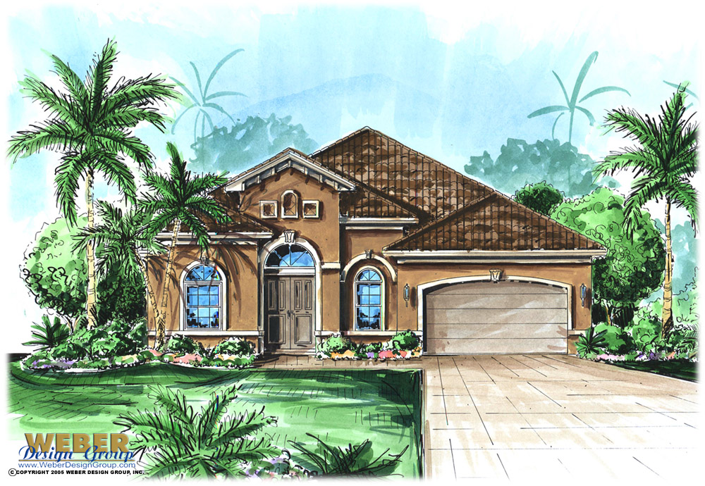 Mediterranean House Plan: One Story Home Floor Plan for Narrow Lot
