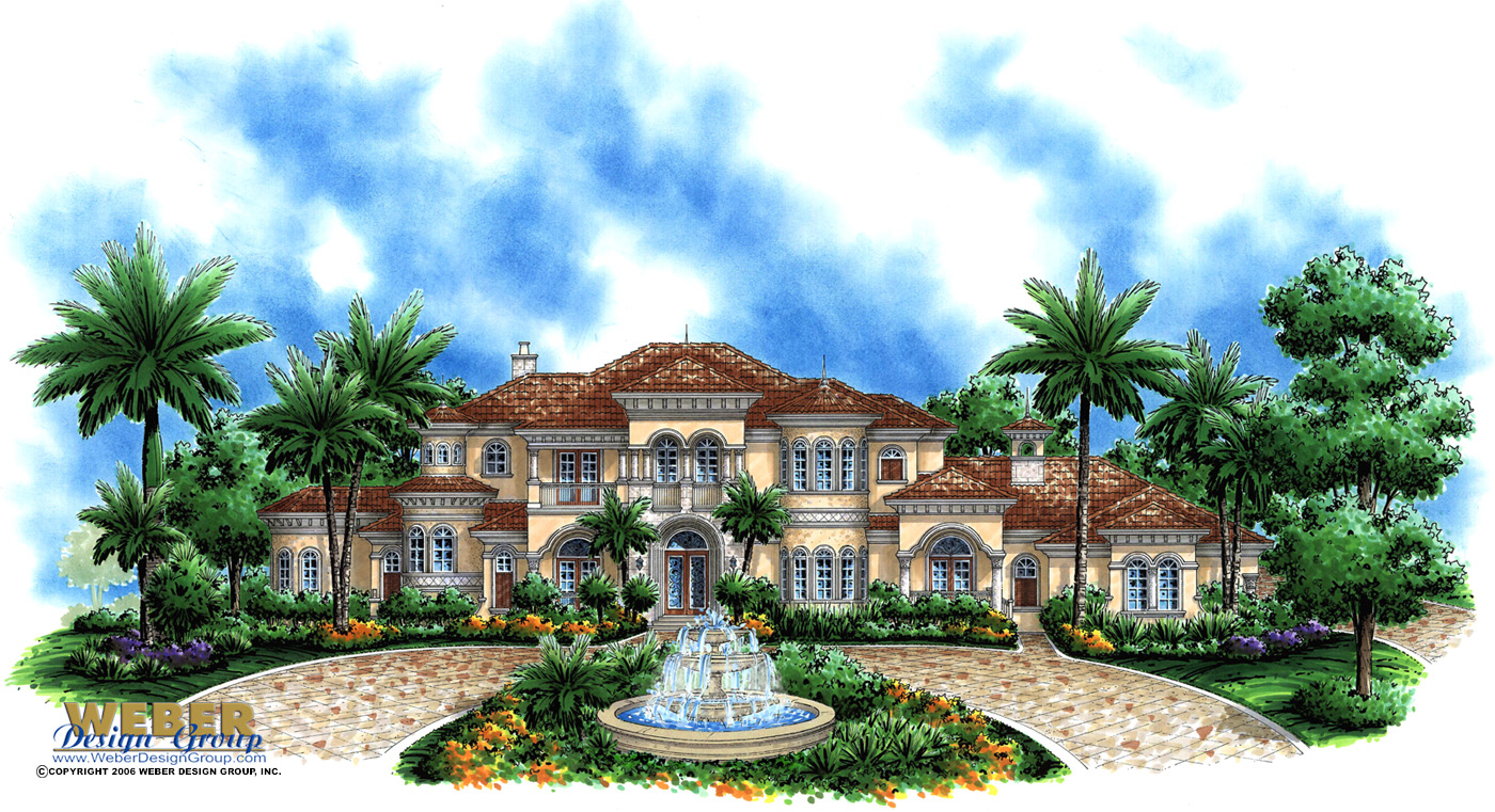 Mediterranean house plan 2 story waterfront mansion floor for Estate home floor plans