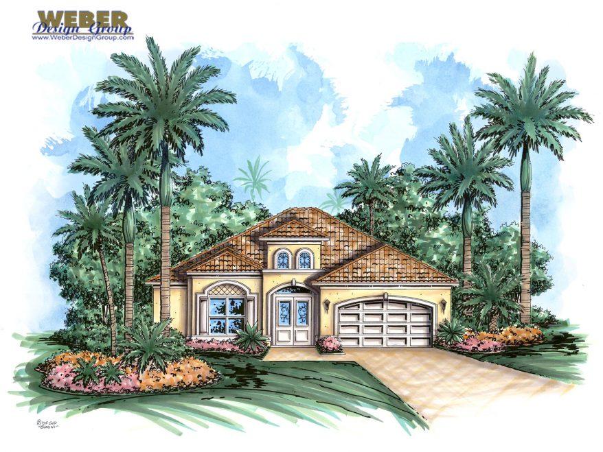 Mediterranean house plan narrow lot golf course home for Narrow lot mediterranean house plans