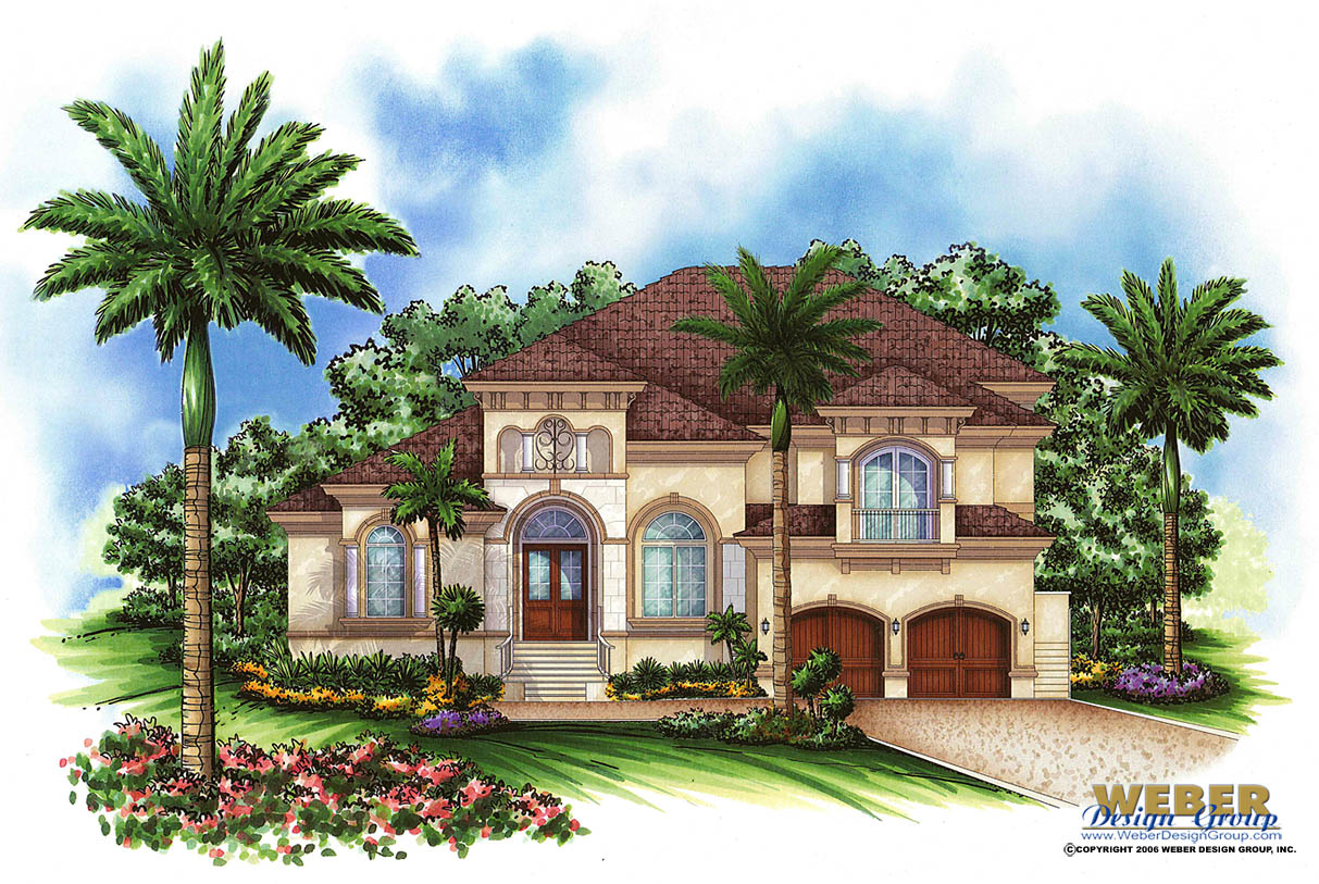 Mediterranean house plan 2 story tuscan waterfront home for Two story mediterranean house plans