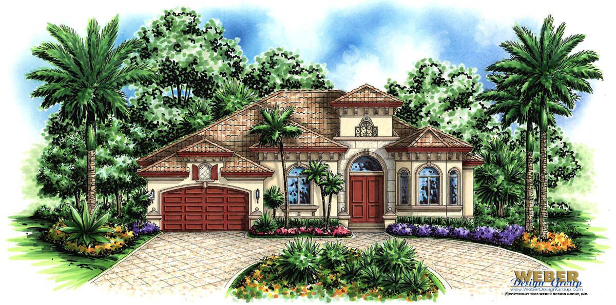 mediterranean house plan: one story florida style with swimming pool